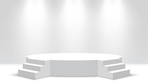 Wit rond podium met treden leeg voetstuk en schijnwerpers stage vector illustration