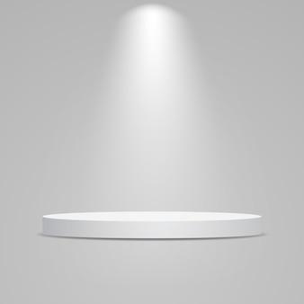 Wit rond podium verlicht met licht. sokkel voor productpresentatie.