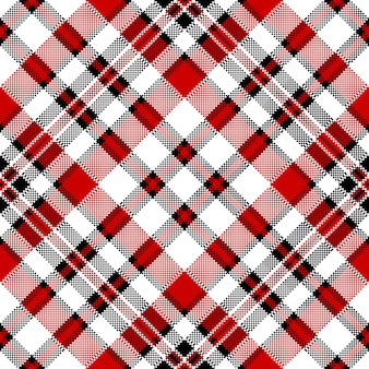 Wit rood diagonaal selectievakje vierkant pixel naadloos patroon