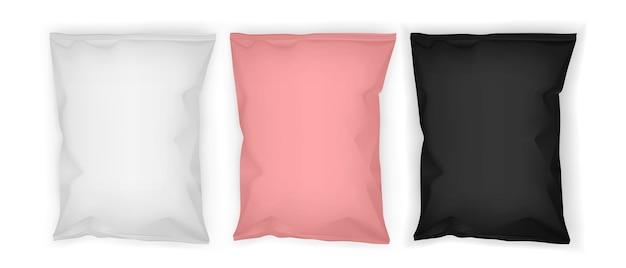Wit roze en zwarte papieren verpakkingen geïsoleerd op een witte achtergrond