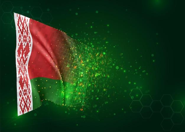 Wit-rusland, 3d vlag op groene achtergrond met polygonengon