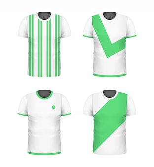 Wit t-shirt met blauwdruksjabloon set. sport voetbal kleding. casual mannen dragen. realistische vectorillustratie.