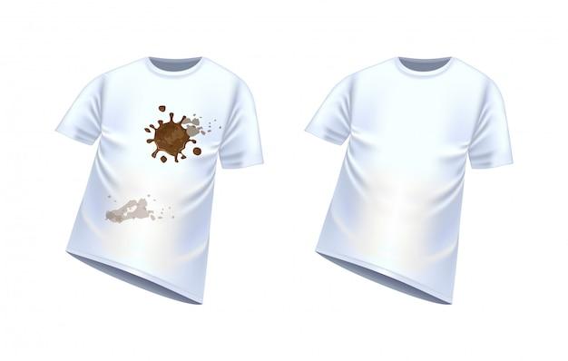 Wit t-shirt met vlekken van vuil, vectorillustratie. schoon en vies t-shirt