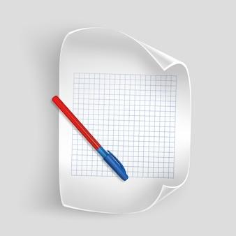 Wit vel papier met realistische pen, vel papier voor uw administratie,