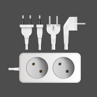Wit verlengsnoer met twee uitgangen. draagbaar stopcontact. realistische stijl. vector.