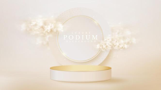 Wit vertoningspodium met cirkel en wolkenelement op achterscène, realistisch luxeconcept als achtergrond, lege ruimte voor het plaatsen van tekst en producten voor promotie. 3d-vectorillustratie.