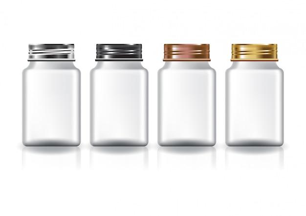 Wit vierkant medicijnflesje met vier kleuren schroefdeksel.