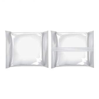 Wit vierkant pakket set met voor kaas, eten, snacks