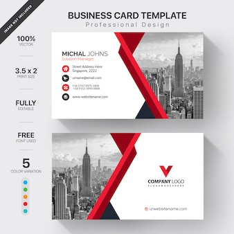 Wit visitekaartje met rode details