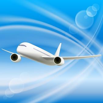 Wit vliegtuig in de lucht