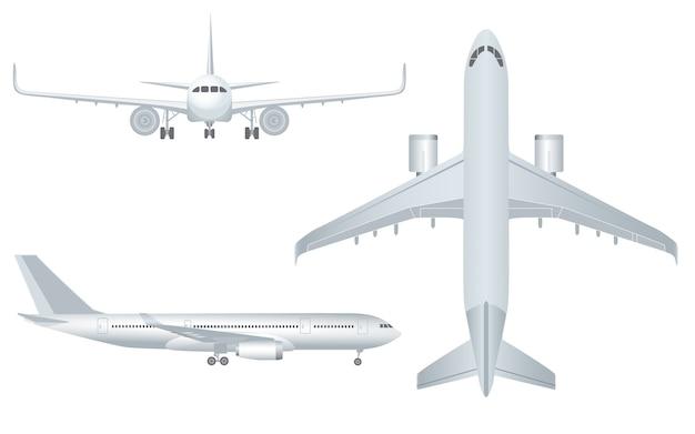 Wit vliegtuig in profiel en vanaf de voorkant