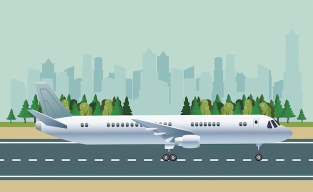 Wit vliegtuigvervoer in de scène van de luchthavencityscape