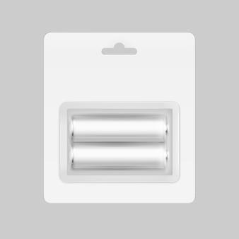 Wit zilvergrijs glanzende alkaline aa-batterijen in witte blisterverpakking voor branding