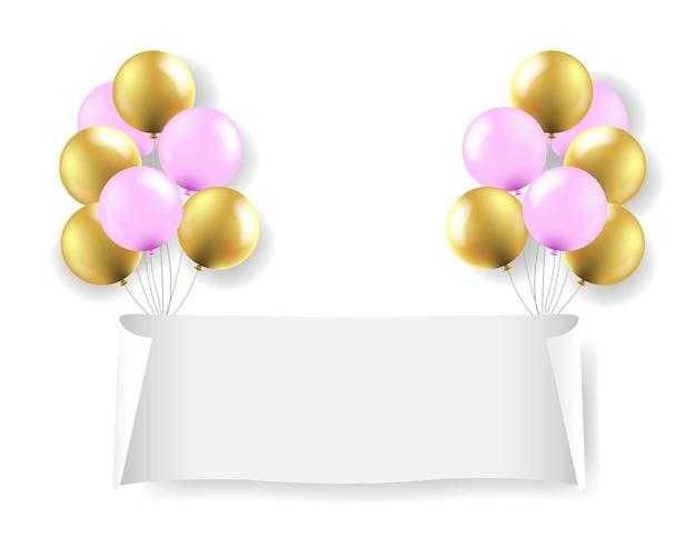 Witboek banner met witte ballonnen transparante achtergrond met verloopnet