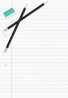 Witboek blad voor zakelijke achtergrond met potlood en gum.