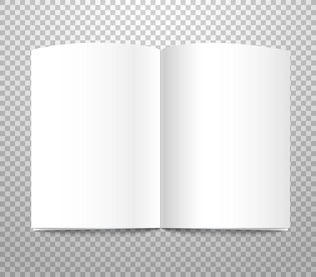 Witboek met blanke pagina voor advertentie geïsoleerd op transparante achtergrond