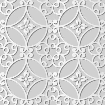Witboekkunst round curve spiral frame flower, stijlvolle decoratie patroon achtergrond voor webbanner wenskaart