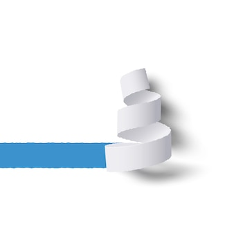Witboekrol gescheurd met schaduwen, blauwe kopie ruimte voor tex