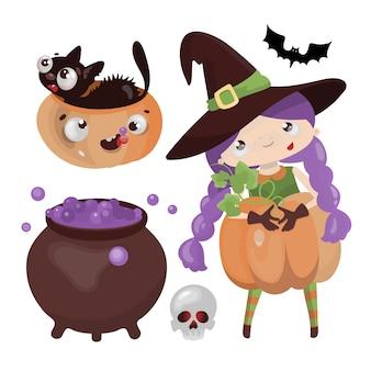 Witch halloween hand getrokken platte ontwerp cartoon karakter horror vakantie illustratie instellen om af te drukken