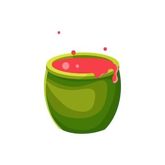 Witch's ketel met drankje, cartoon vectorillustratie. kokend drankje.