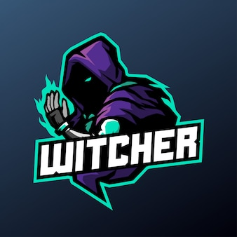 Witcher mascotte illustratie voor sport- en esports-logo geïsoleerd op een donkere achtergrond