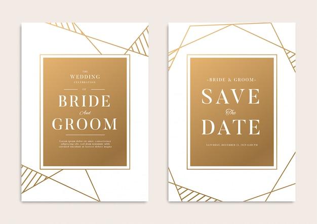 Witgouden geometrische bruiloftsjabloon