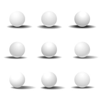 Witte 3d-bol ingesteld met schaduwen