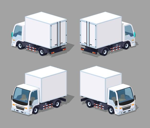 Witte 3d lowpoly isometrische vrachtvrachtwagen