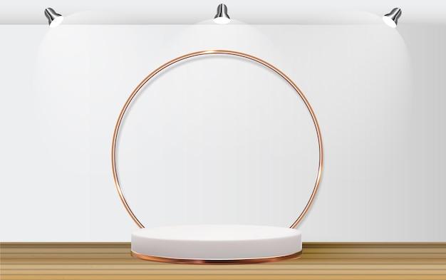 Witte 3d sokkel achtergrond met gouden glazen ring frame voor cosmetische productpresentatie modeblad kopieer de ruimte