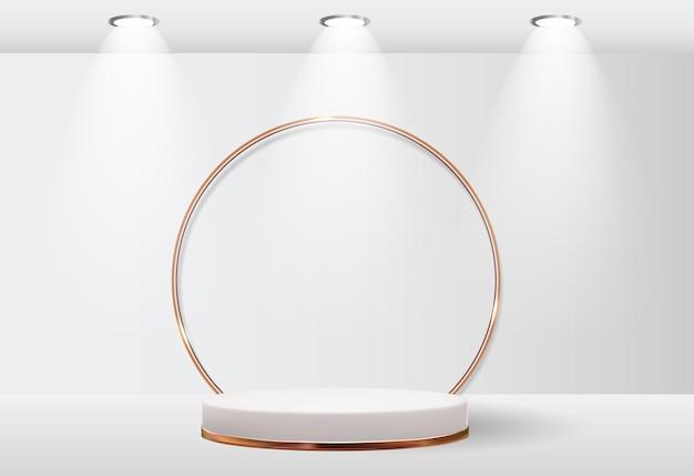 Witte 3d sokkel achtergrond met gouden glazen ring frame voor cosmetische productpresentatie modeblad