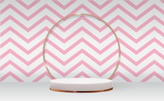 Witte 3d voetstukachtergrond met gouden glasringkader abd roze golf voor het modeblad van de kosmetische productpresentatie