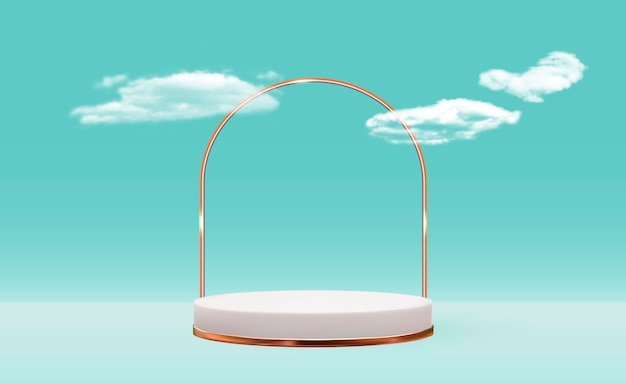 Witte 3d voetstukachtergrond met gouden glasringkader op blauw bewolkt voor het modeblad van de kosmetische productpresentatie Premium Vector