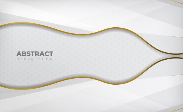 Witte abstracte achtergrond met gouden lijn en schaduw