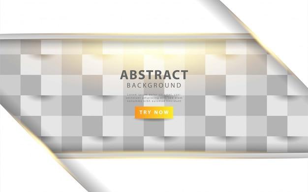 Witte abstracte textuur. vector achtergrond 3d-papier kunststijl met gouden lijn