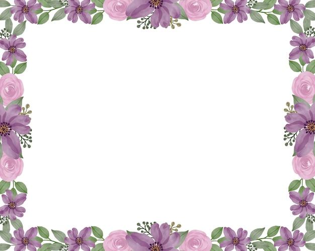 Witte achtergrond met arrangement paarse bloemen aquarel rand