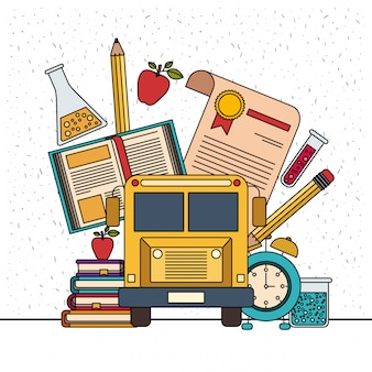 Witte achtergrond met fonkelingen van kleur set college onderwijs items met educatieve elementen