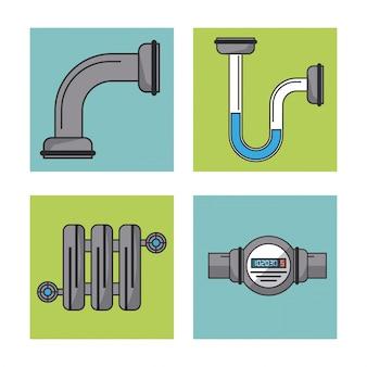 Witte achtergrond met frames van waterleiding en watermeter