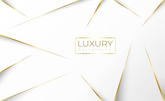 Witte achtergrond met gouden luxe lijn en laag poly