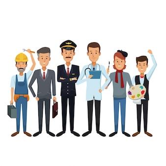 Witte achtergrond met groep mannelijke mensen van verschillende beroepen