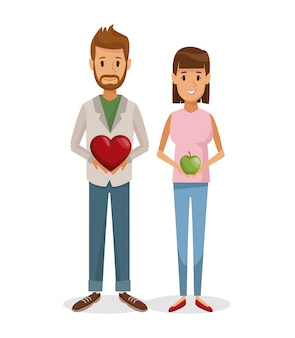 Witte achtergrond met kleurrijke set man en vrouw met hart vorm geschenk en apple fruit