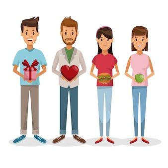 Witte achtergrond met kleurrijke vastgestelde mensen die gift en gezond voedsel houden