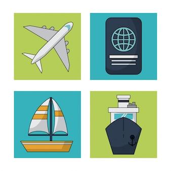 Witte achtergrond met kleurrijke vierkanten met reizende pictogrammen