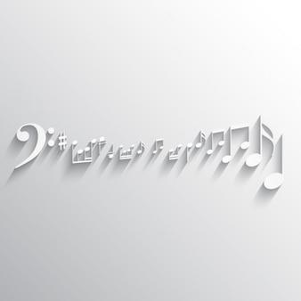 Witte achtergrond met muziek notities