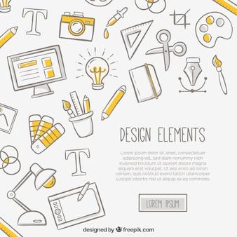 Witte achtergrond met ontwerpelementen
