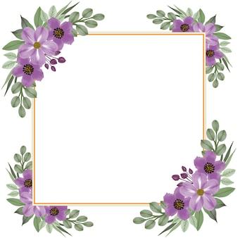 Witte achtergrond met opstelling van paarse bloem aquarel rand