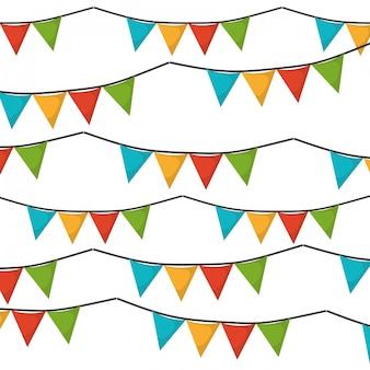 Witte achtergrond met reeks kleurrijke slingers in vorm van driehoeks vectorillustratie