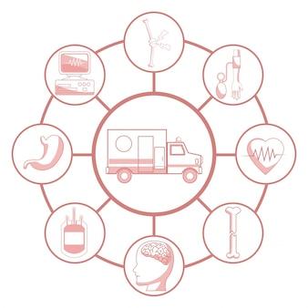 Witte achtergrond met rode kleur delen van silhouet ambulance auto verbonden met circulaire frames elementen gezondheid