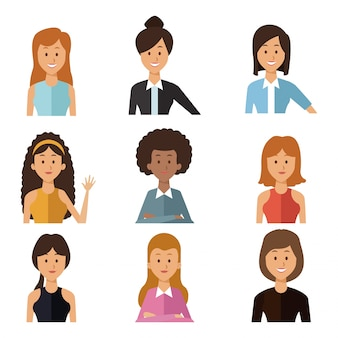 Witte achtergrond met set half lichaam groep mensen vrouwen