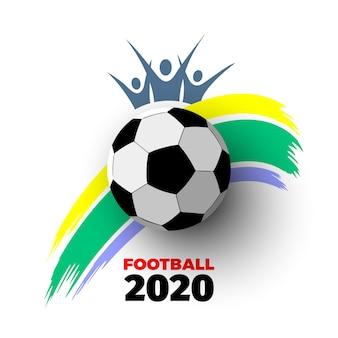 . witte achtergrond met voetbal, kleurrijke verfslag en ventilatorsilhouet. illustratie.