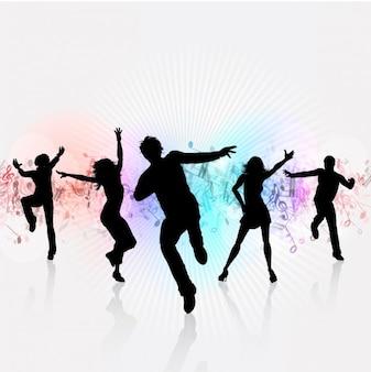 Witte achtergrond van de partij met dansende silhouetten